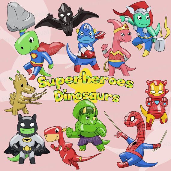 Superheroes clip art dinosaurs. Avengers clipart cute