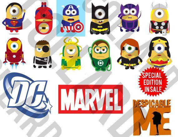 Marvel minion superheroes collarddesign. Avengers clipart cute