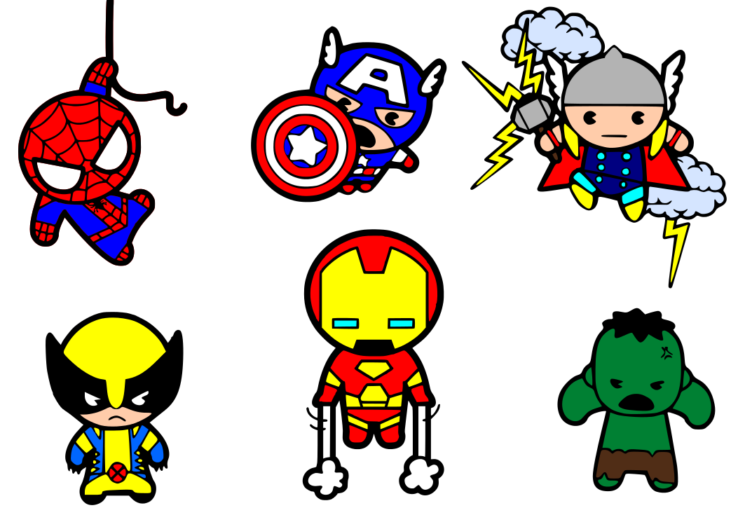 Avengers clipart cute. Superheroes svg files are