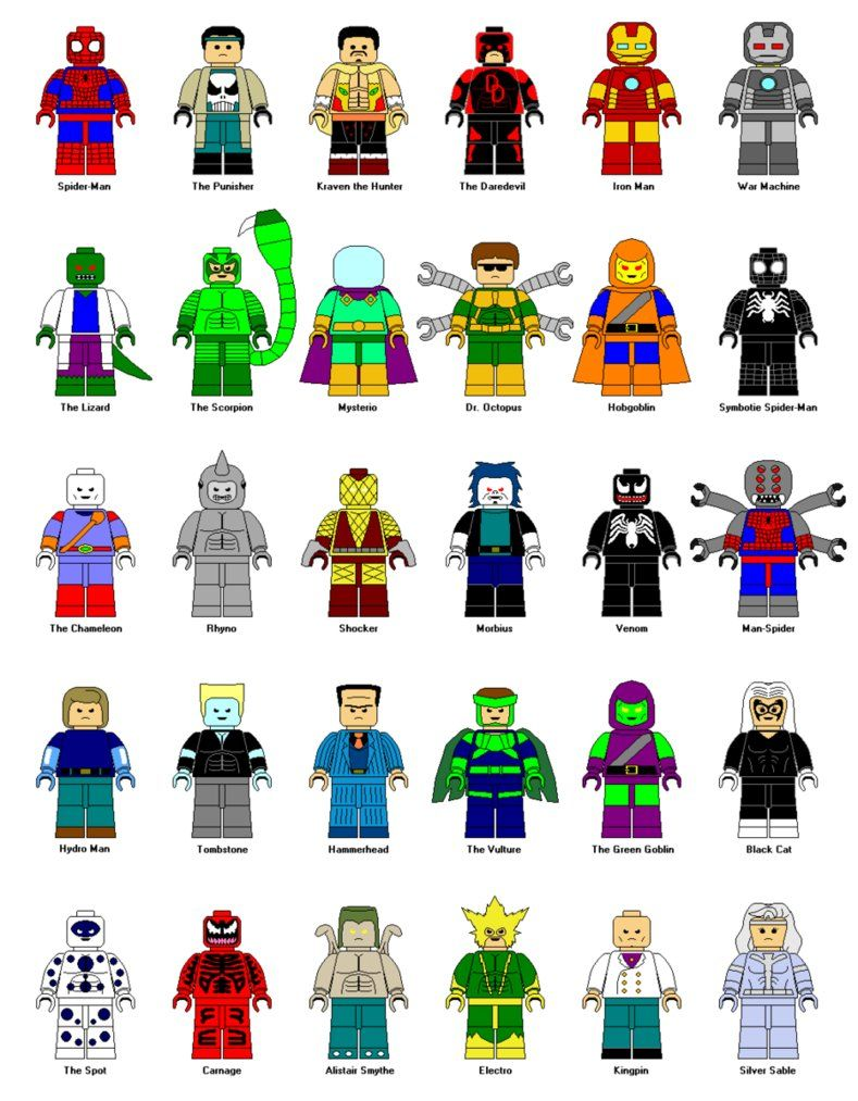 Lego spider man characters. Boom clipart superheroes marvel