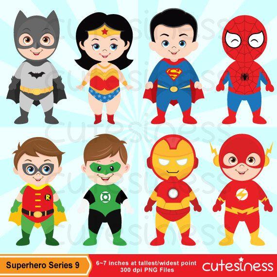 Superhero digital clip art. Character clipart cute