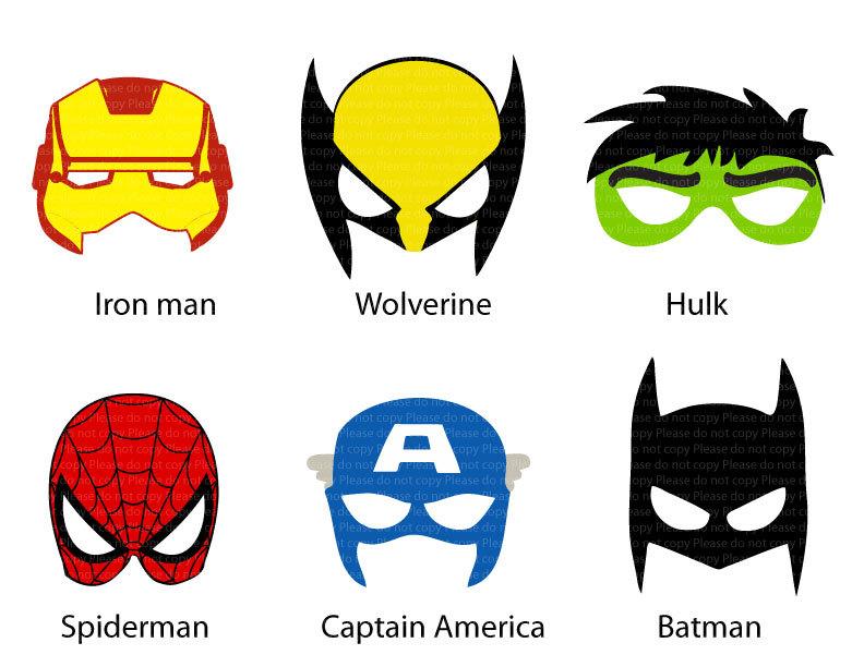 This is an image of Superhero Printable Masks regarding paper