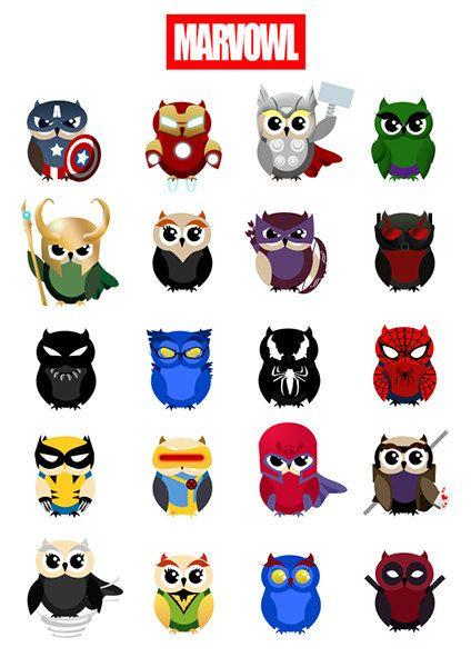 Avengers clipart pdf. Marvowl owl marvel printable