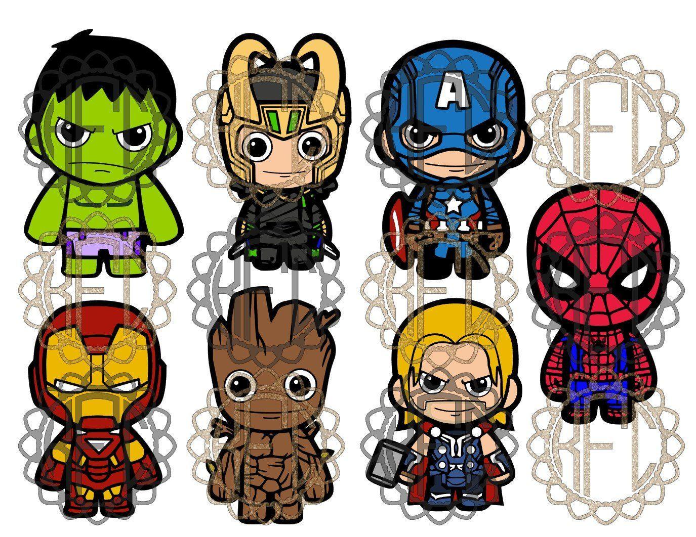 Cute ironman chibi groot. Avengers clipart pdf