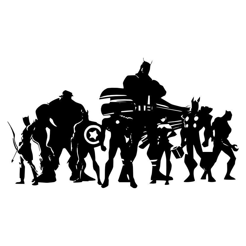 Avengers clipart silhouette. Vinyl wall large decal