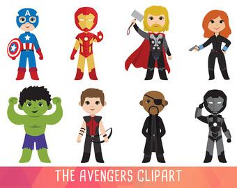 Clip art etsy super. Avengers clipart superhero group