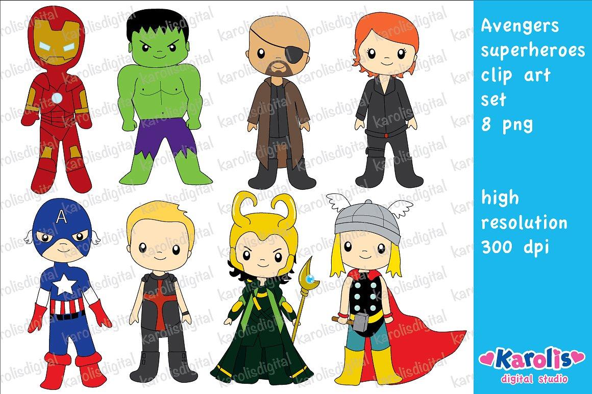 Avengers clipart superhero group. Clip art set illustrations