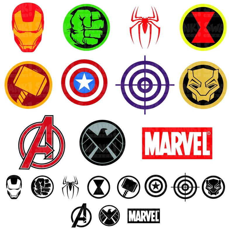 Avengers clipart symbol. Superhero svg png eps