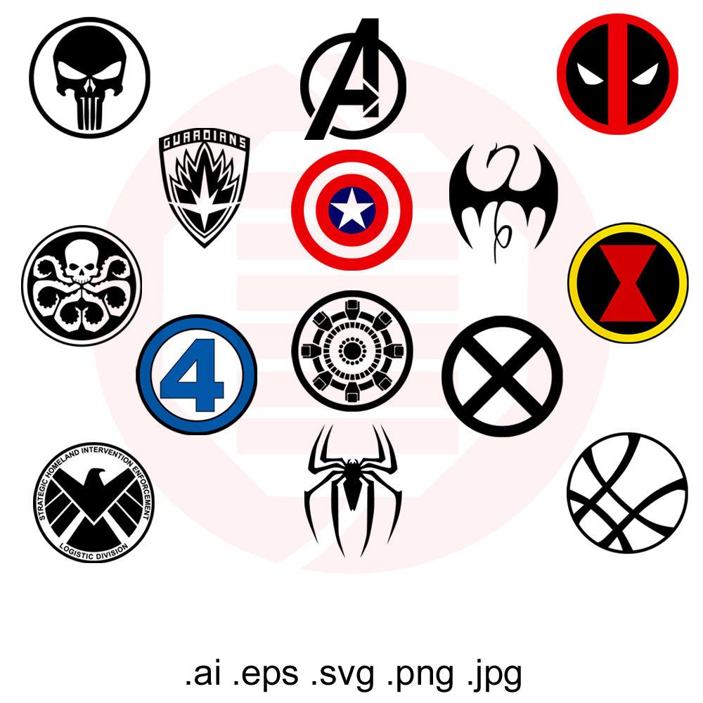 Superhero svg symbols decal. Avengers clipart symbol