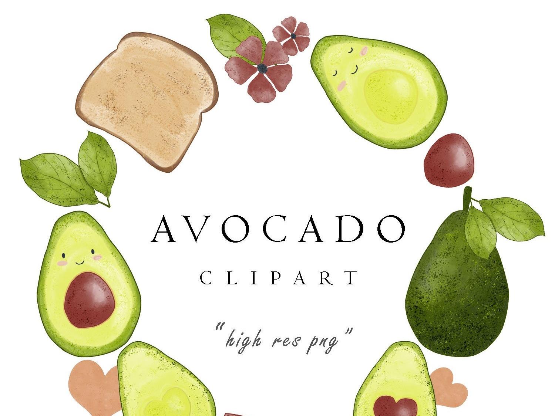 Watercolor cute pictures set. Avocado clipart abocado
