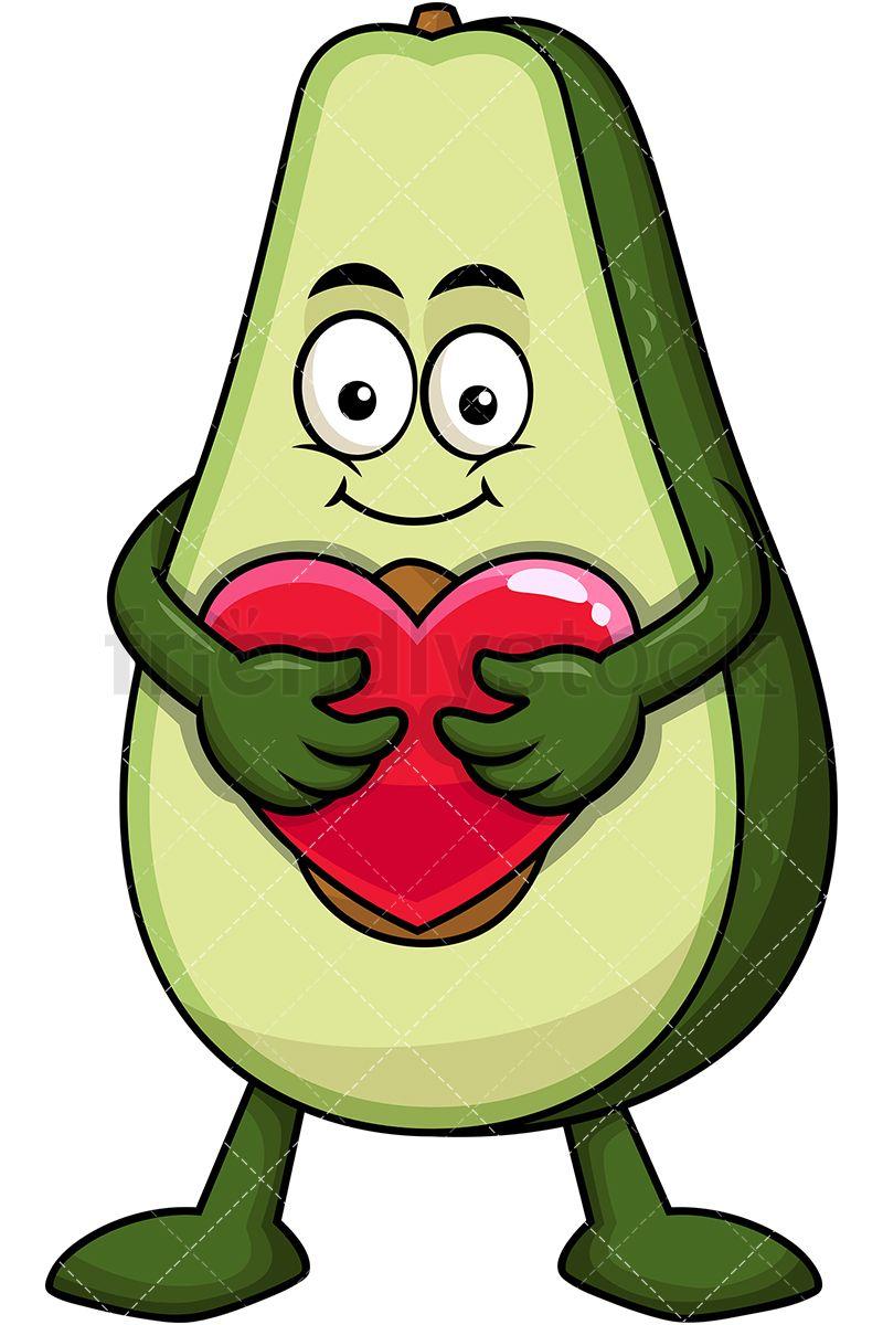 Mascot hugging heart icon. Avocado clipart animated
