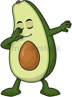 Avocado clipart animated. Dabbing construction worker cartoon