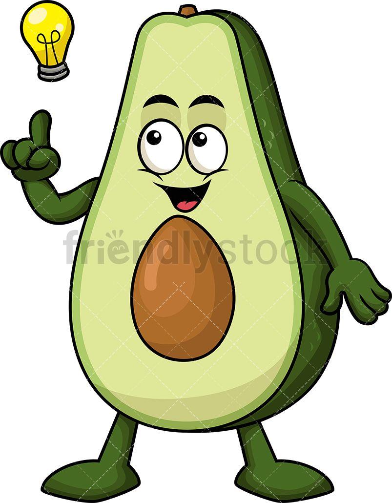 Avocado clipart avacado. Mascot having an idea