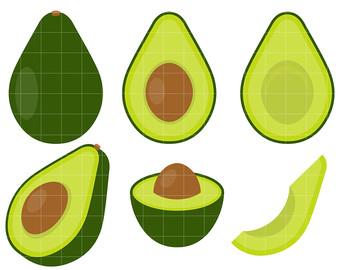 Avocado clipart avocado fruit. Art etsy set clip