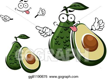 Vector art fruit character. Avocado clipart avocado half