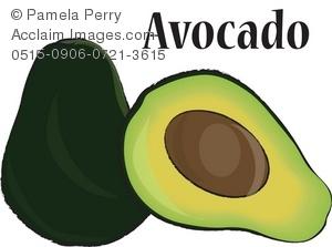 Avocado clipart avocado half. Clip art illustration of