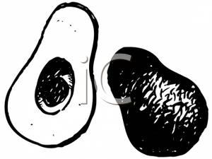 Avocado clipart black and white. Avocados clip art image