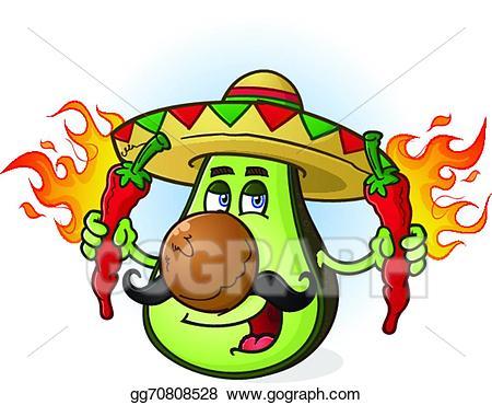 Eps vector mexican character. Avocado clipart cartoon