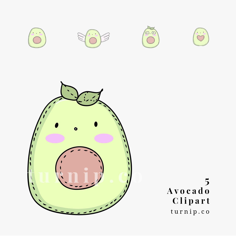 Avocado clipart clip art. Cute cartoon image png