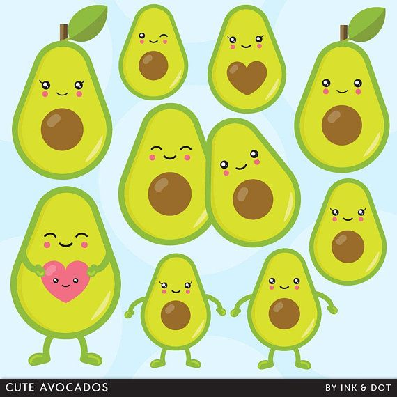 Avocado clipart cute. Avo guac salad vegetables