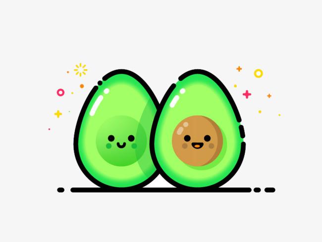 Element fruit green png. Avocado clipart cute