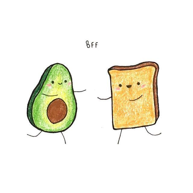 Avocado clipart draw. Day something green toast
