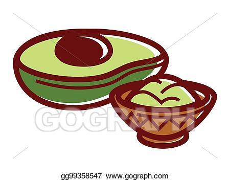 Vector stock half of. Avocado clipart guacamole
