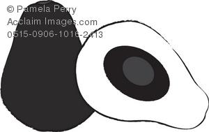 Black and white clip. Avocado clipart illustration