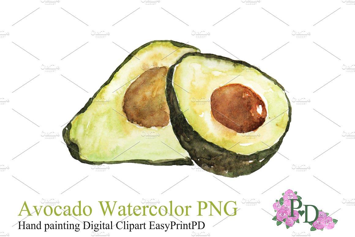 Watercolor png illustrations creative. Avocado clipart illustration