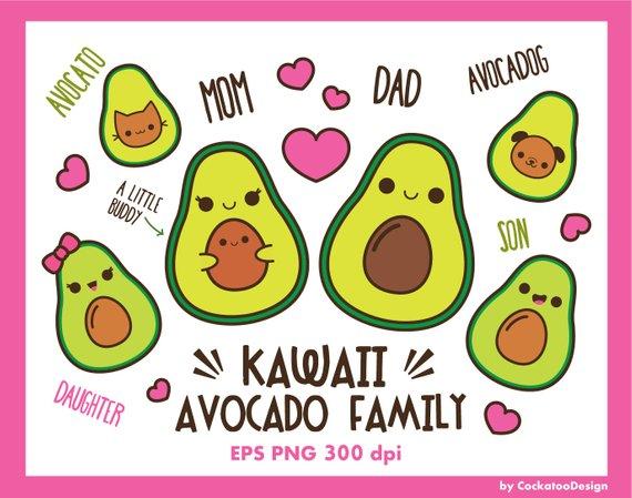 Clip art cute family. Avocado clipart kawaii