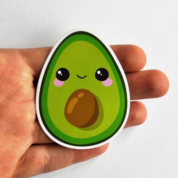 Avocado clipart kawaii. Sticker vegan vinyl