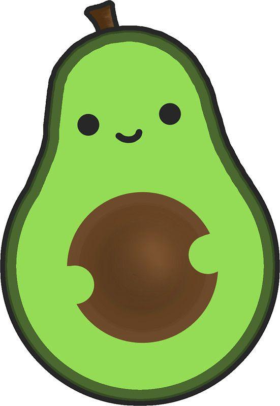 Cute chibi smiley sticker. Avocado clipart kawaii