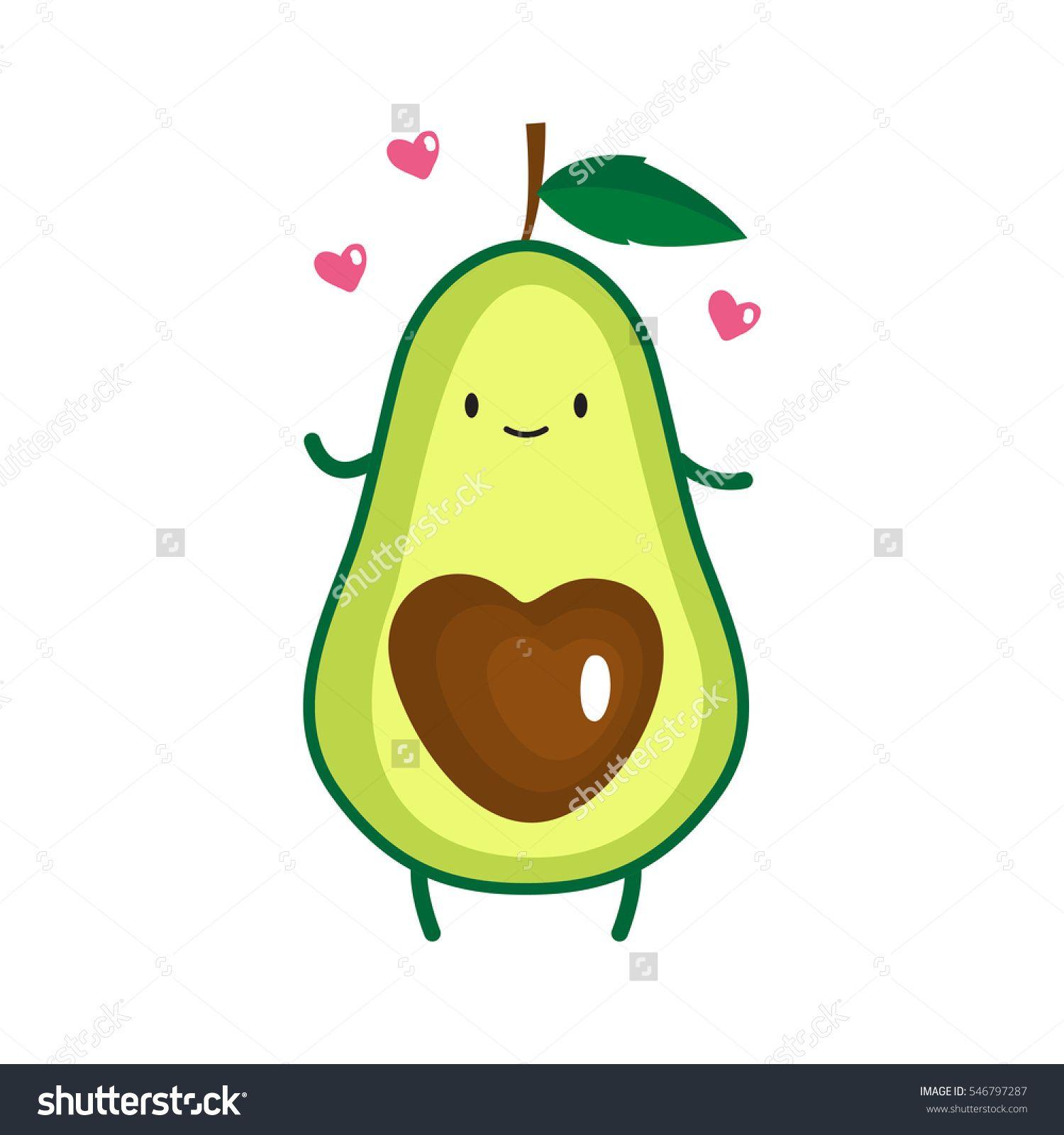 Avocado clipart printable. Illustration of cute vector