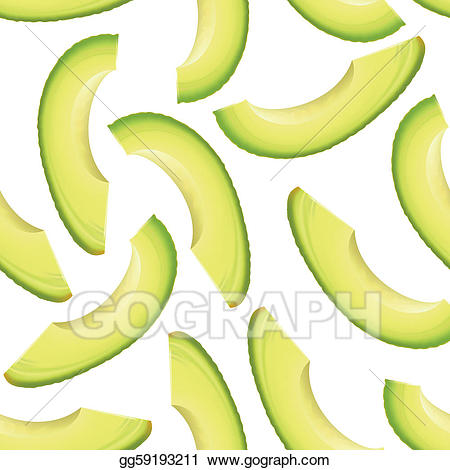 Art thinly sliced pieces. Avocado clipart vector