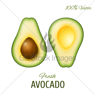 Avocado clipart vector. Top view background with