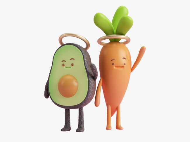 Cartoon fruits and vegetables. Avocado clipart vegetable
