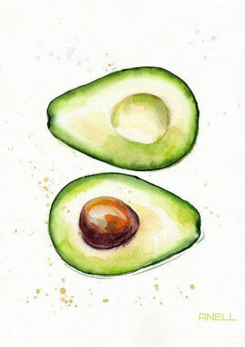 Set of print painting. Avocado clipart watercolor