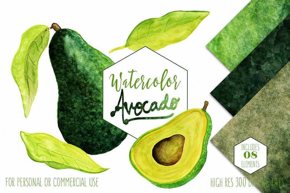 Avacado vege design bundles. Avocado clipart watercolor