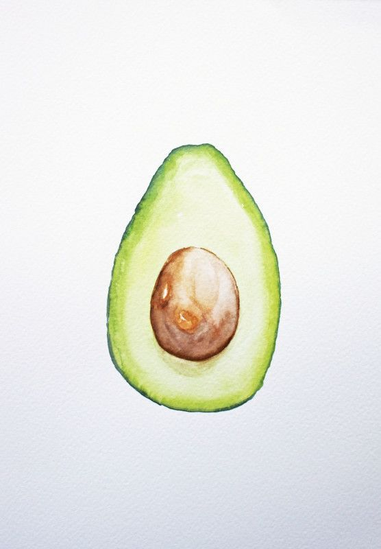 Original artist and art. Avocado clipart watercolor
