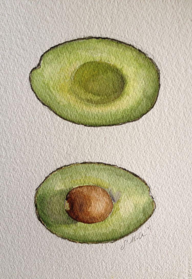 Avocado clipart watercolor. Original on paper by