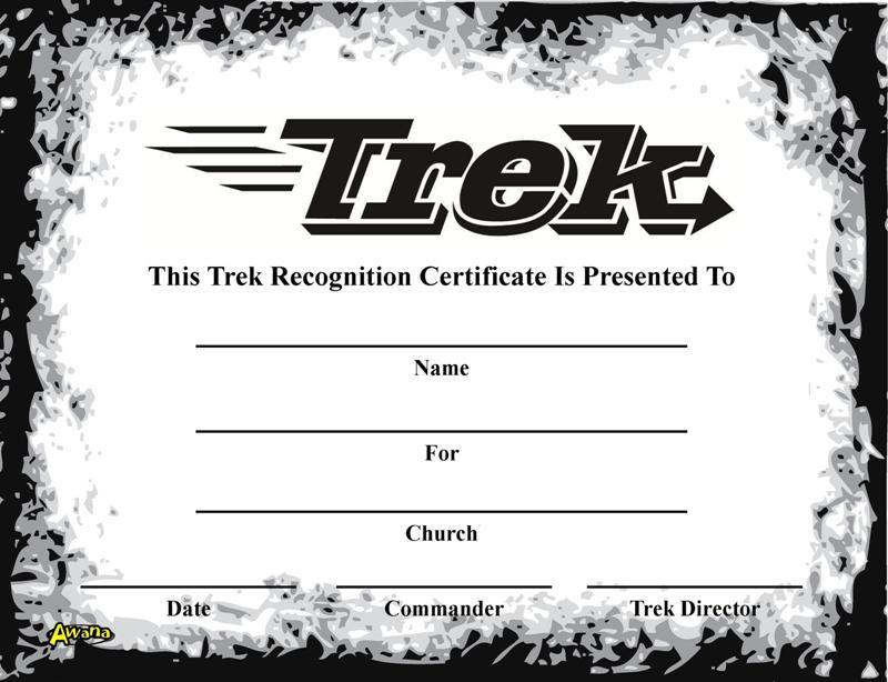 Awana clipart trek. Recognition certificate certificates how