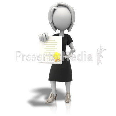 Woman with document signs. Award clipart award presentation