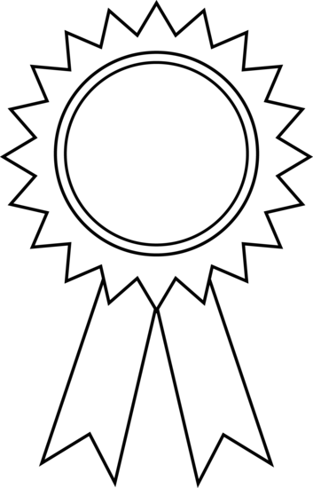 Award ribbon outline panda. Awards clipart black and white