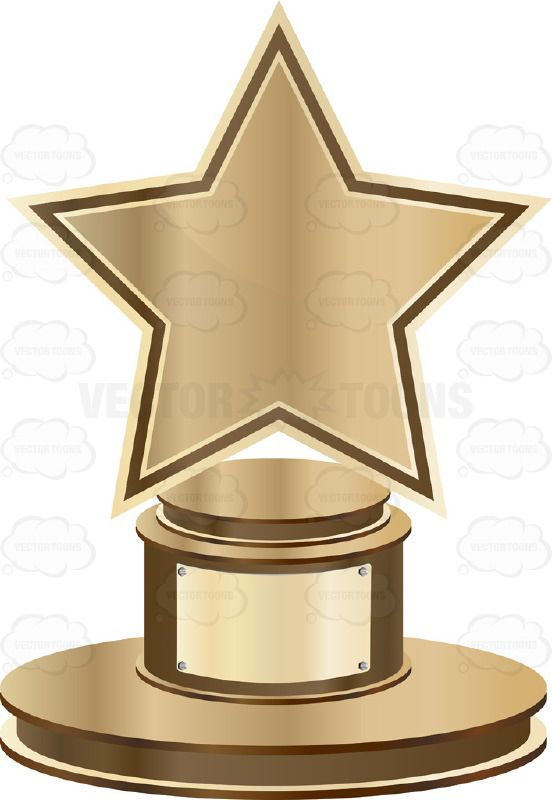 Star trophy on base. Award clipart bronze