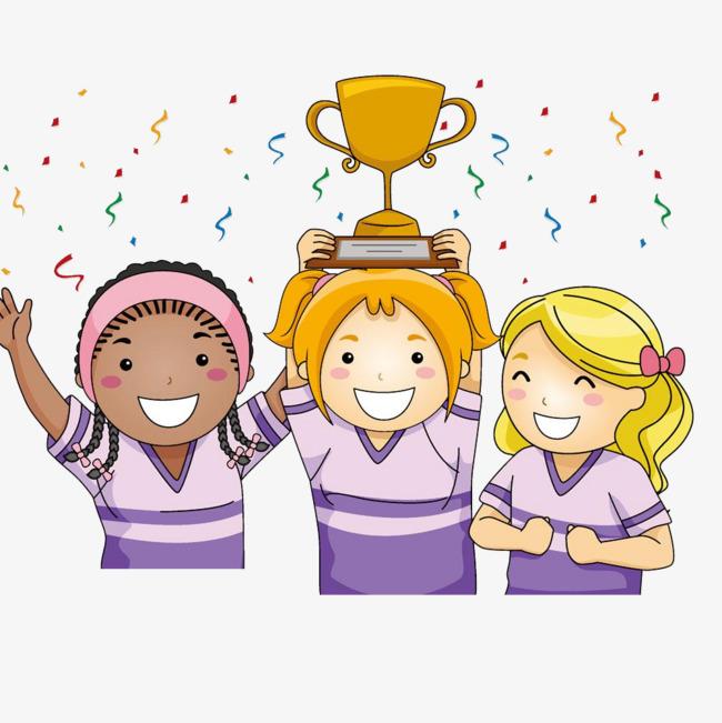 Girl athlete won the. Award clipart cartoon
