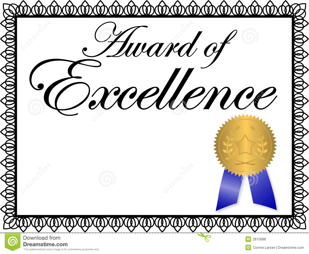 Award clipart certificate. Excellence