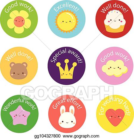 Award clipart cute. Vector illustration school labels