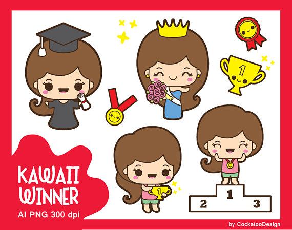 Kawaii girl clip art. Award clipart cute