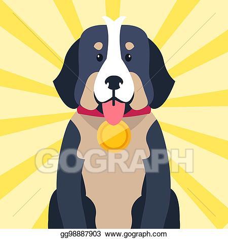 Award clipart dog. Vector art bernese mountain