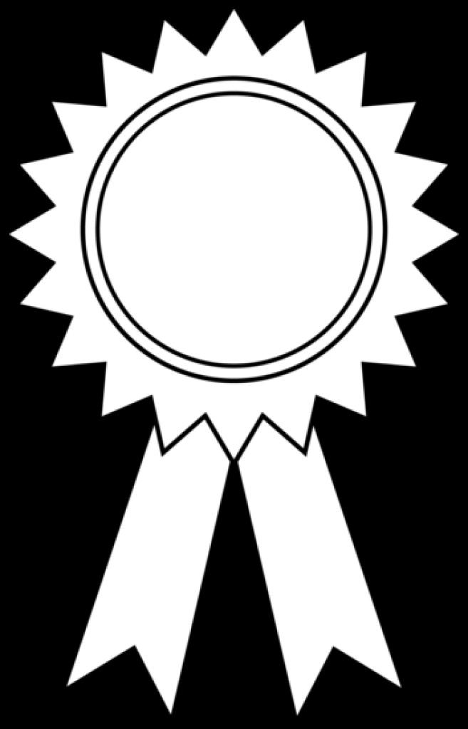 Medal black and white. Award clipart emblem